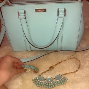 Light Blue Kate Spade bag, necklace, and bracelet